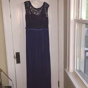 David's Bridal Long Lace Blue Dress F19328 Marine